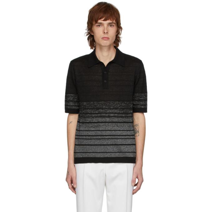 Saint Laurent Lurex-striped Linen-blend Knit Polo Shirt In Black