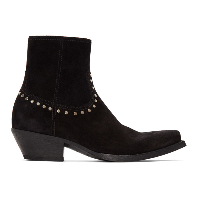 Saint Laurent Lukas Boots In Suede With Studs In Black