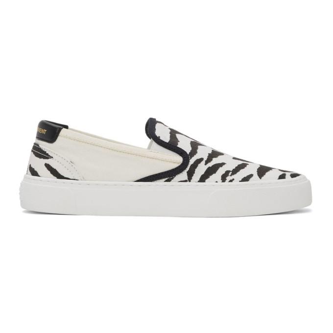 Saint Laurent Venice Zebra-stripe Canvas Slip-on Sneakers In 9666 Bianer