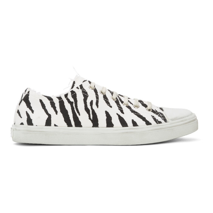 Saint Laurent Black And White Zebra Print Bedford Sneakers In 9074 Bianer