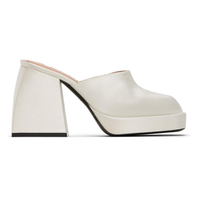 Buy Nodaleto White Silk Bulla Geller Heeled Mules online