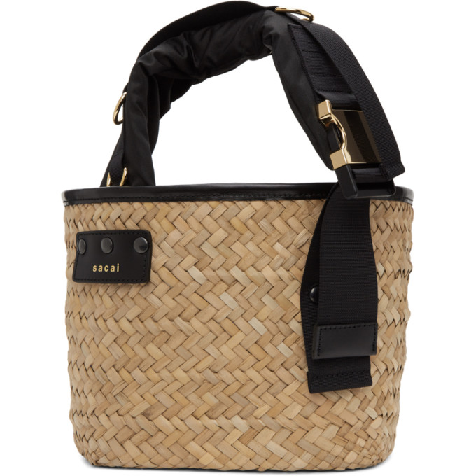 Sacai Shell And Leather-trimmed Woven Straw Tote In Black