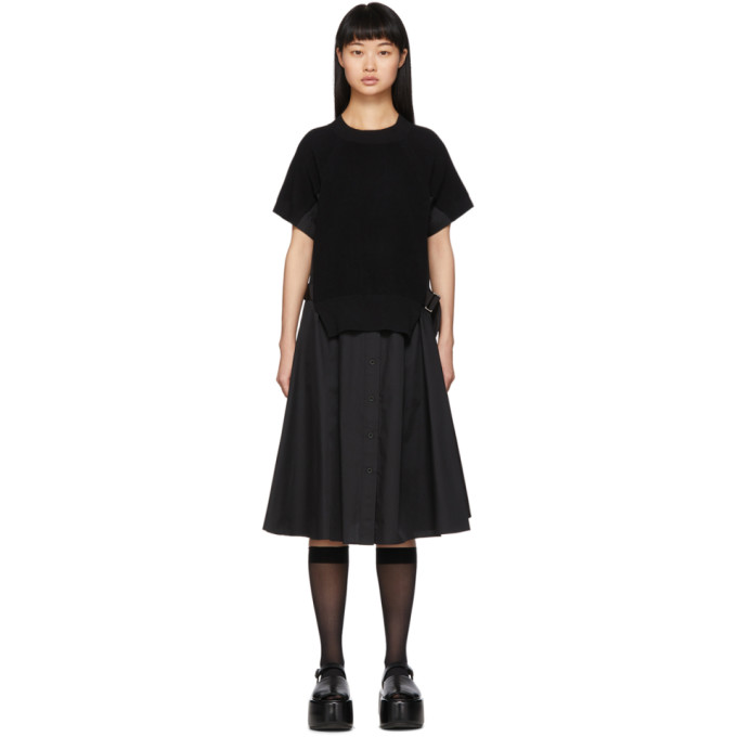 Sacai Robe noire Knit Panel