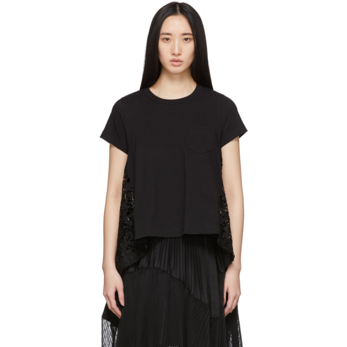 Sacai T-shirt noir Embroidered Lace Back