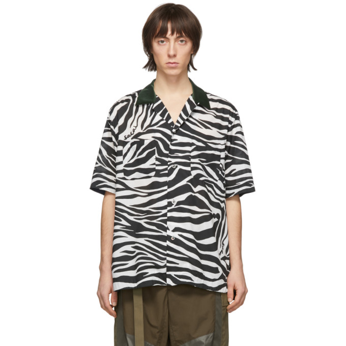 Sacai Chemise a manches courtes noire et blanche Zebra