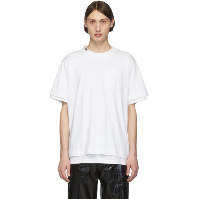Sacai T-shirt en coton blanc