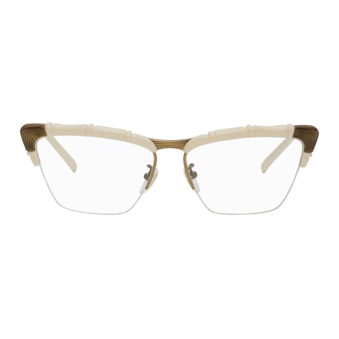 Image of Gucci Off-White and Bronze Half-Rim Cat-Eye Glasses