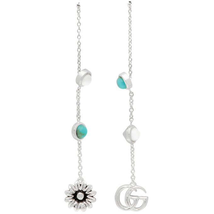 Gucci Silver Gg Flower Drop Earrings In Silver/