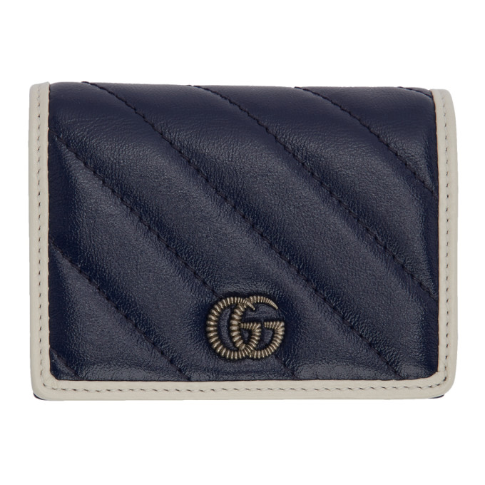 Gucci Navy GG Marmont Torchon Bifold Wallet