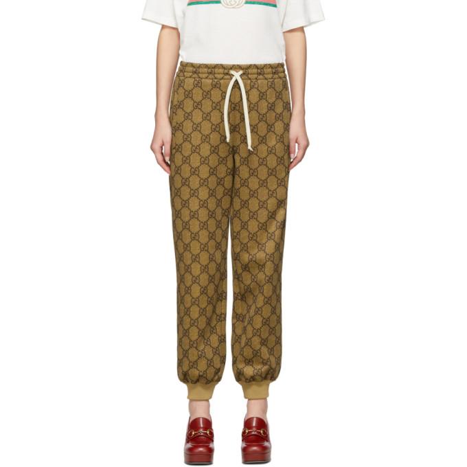 Gucci Brown GG Supreme Drawstring Lounge Pants