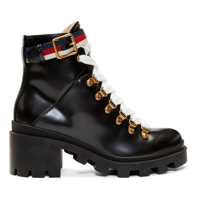 Gucci Grosgrain-trimmed Leather Ankle Boots In Black
