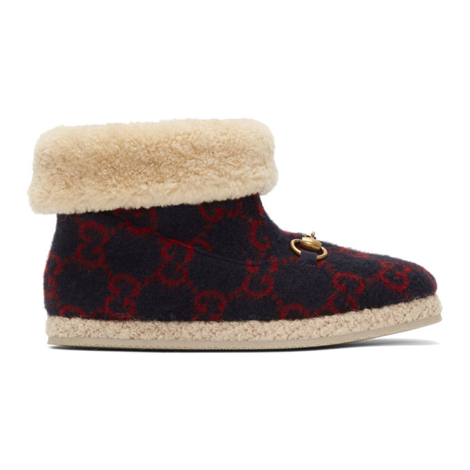 Buy Gucci Navy Wool Fria Boots online