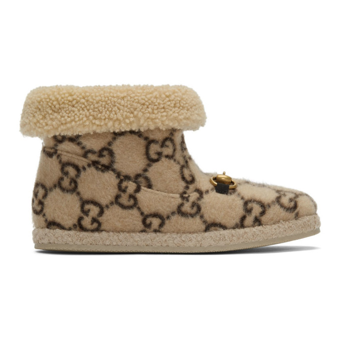 Buy Gucci Beige Wool Fria Boots online