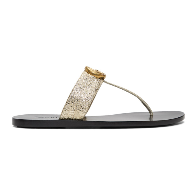 Buy Gucci Silver Marmont Flat Sandals online