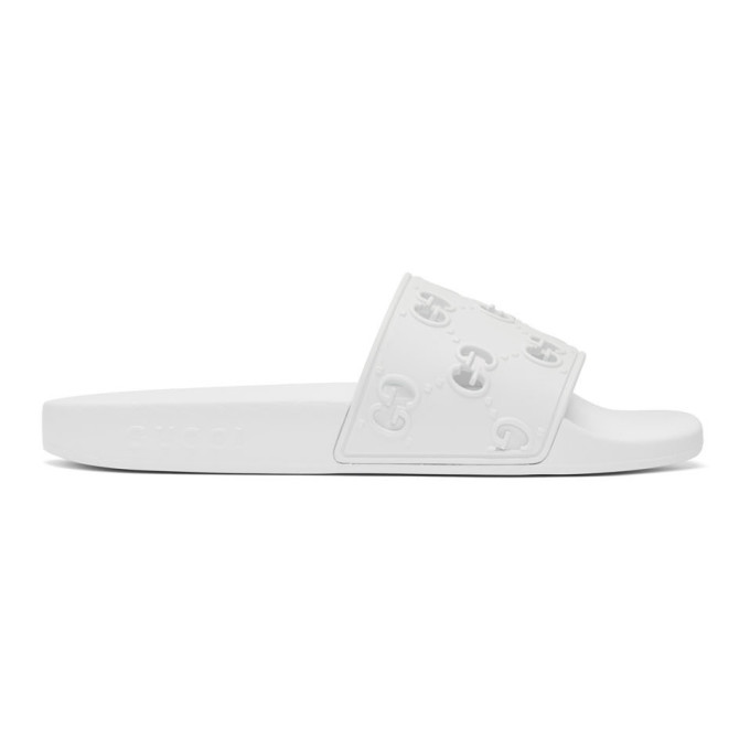 Buy Gucci White GG Pool Slides online