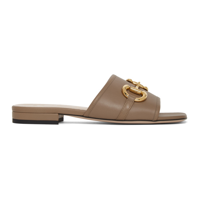 Buy Gucci Beige Horsebit Dava Sandals online