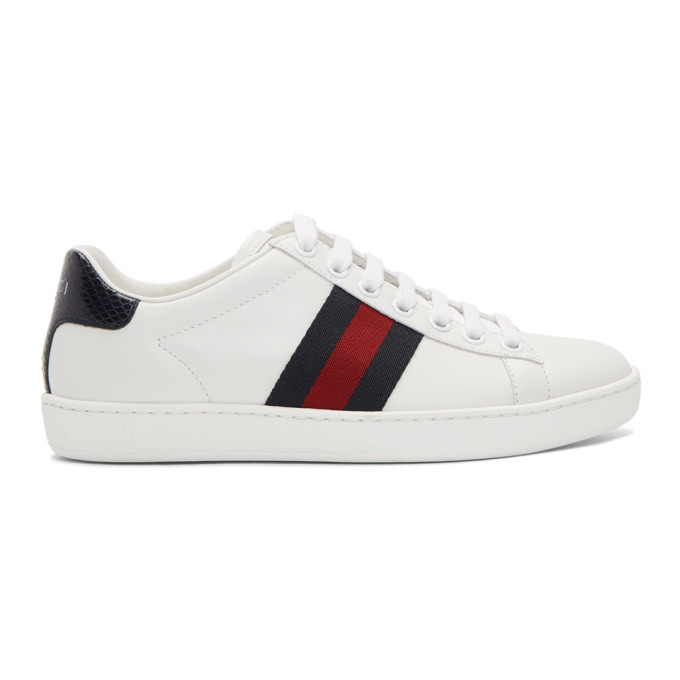 Gucci Ace Watersnake And Canvas-trimmed