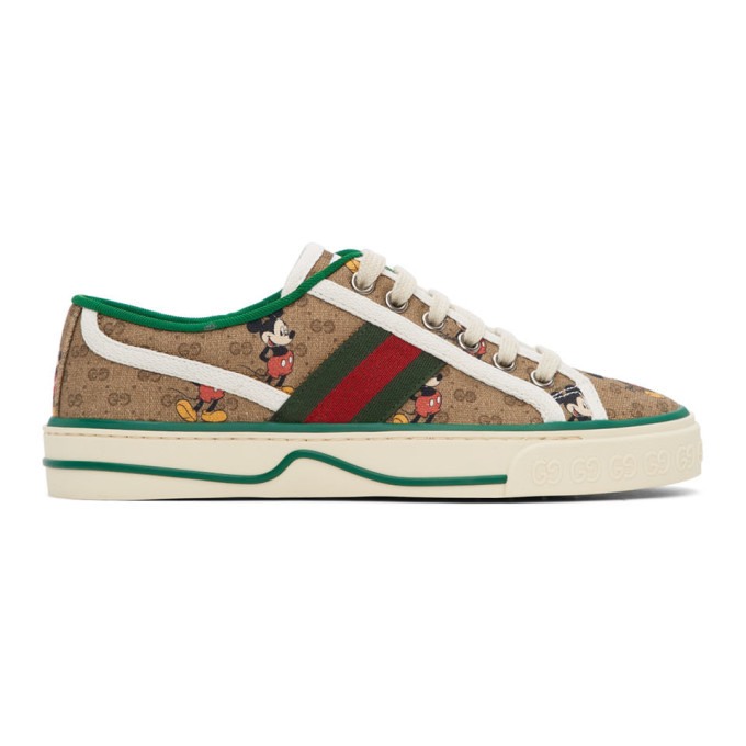 Gucci Low-top Sneakers Tennis 1977 Canvas Logo Beige Green In 8530 Ivory