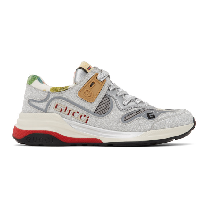 Gucci Ultrapace Colour-blocked Glitter-leather And Mesh Trainers In 8161 Silver