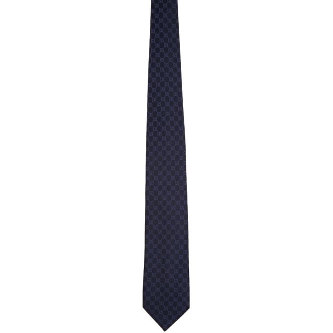 Gucci 海军蓝 GG 真丝领带