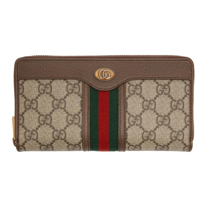 Gucci 驼色 GG Ophidia 环绕式拉链钱包