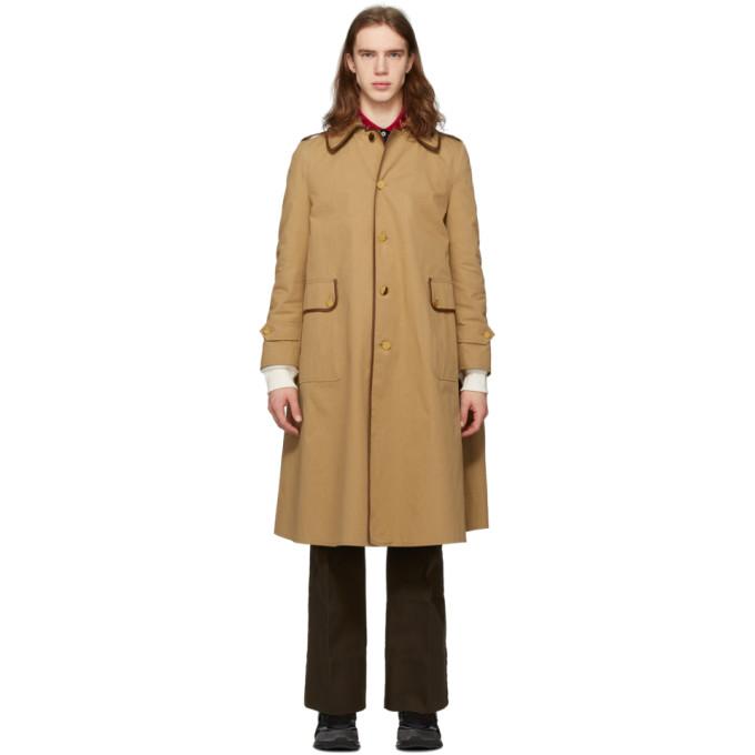 Gucci 黄褐色厚斜纹布风衣