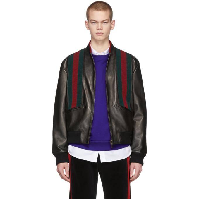 Gucci ブラック ラムスキン ウェブ ボンバー ジャケット