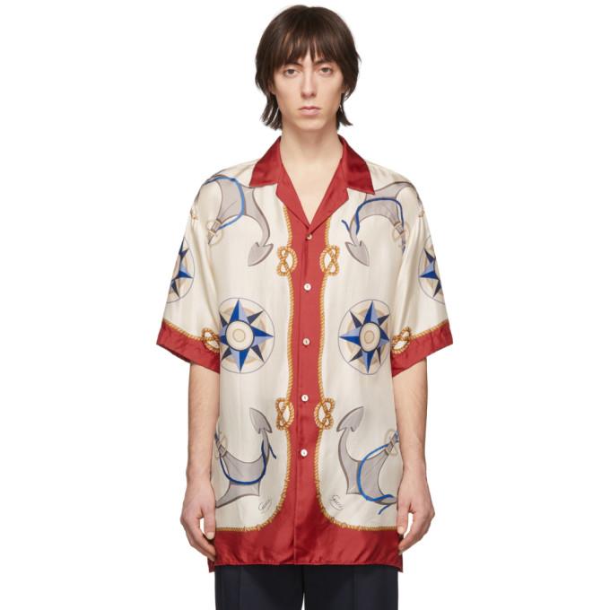 Gucci Compass And Anchor-print Silk-satin Shirt In 大地色