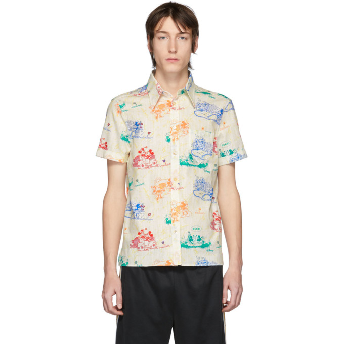 Gucci Off-white & Multicolor Disney Edition Mouse Short Sleeve Shirt In Neutrals
