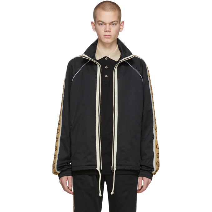 Gucci Gg-jacquard Side-stripe Technical Track Jacket In 1082 Black