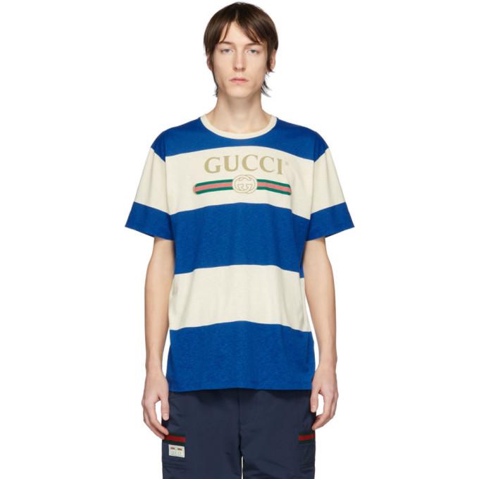 Gucci Logo-print Striped Cotton And Hemp-blend T-shirt In 白色