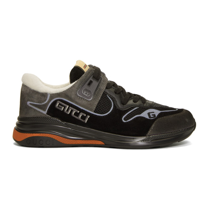 Gucci Ultrapace G-line Suede & Mesh Sneakers In 1280 Nero