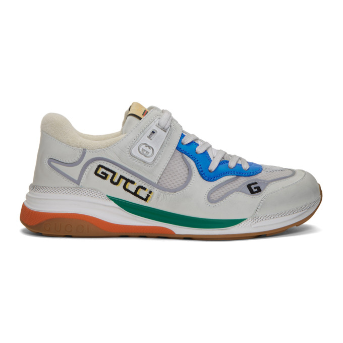 Gucci Ultrapace Panelled Leather, Mesh And Reflective-woven Trainers In White/blue Leather