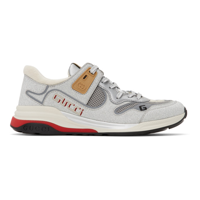 Gucci Ultrapace Metallic Leather Trainers In 8161 Silver