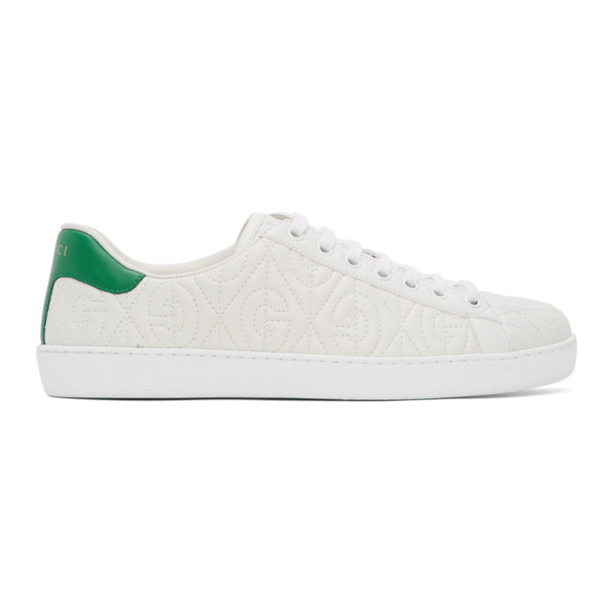 Gucci Ace G Rhombus Quilted Leather Sneakers In White/green