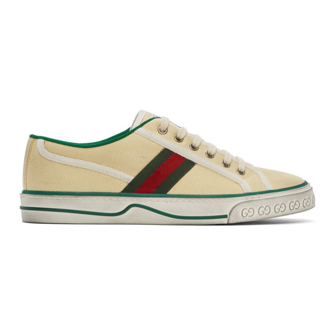 Gucci Distressed Canvas And Webbing Sneakers In White