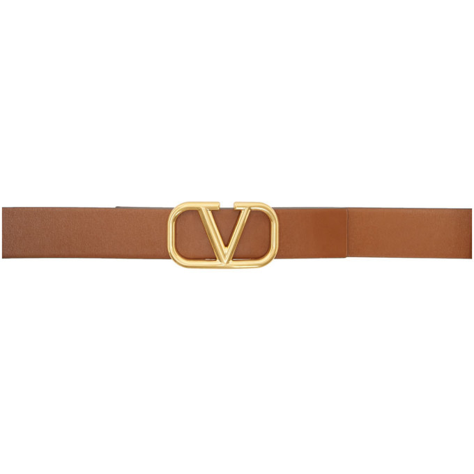 Valentino Garavani Garavani Vlogo Reversible Leather Belt In Cap Tan
