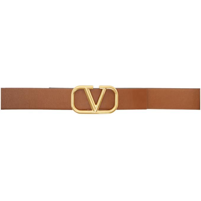 Valentino Garavani Garavani Vlogo Reversible Leather Belt In Brown