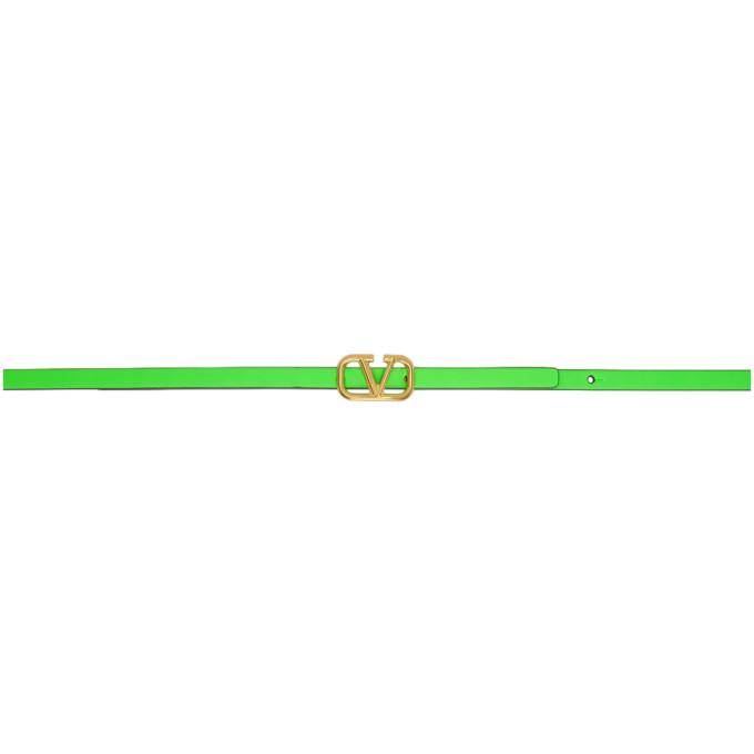 Valentino Garavani Vlogo Reversible Leather Belt In Green