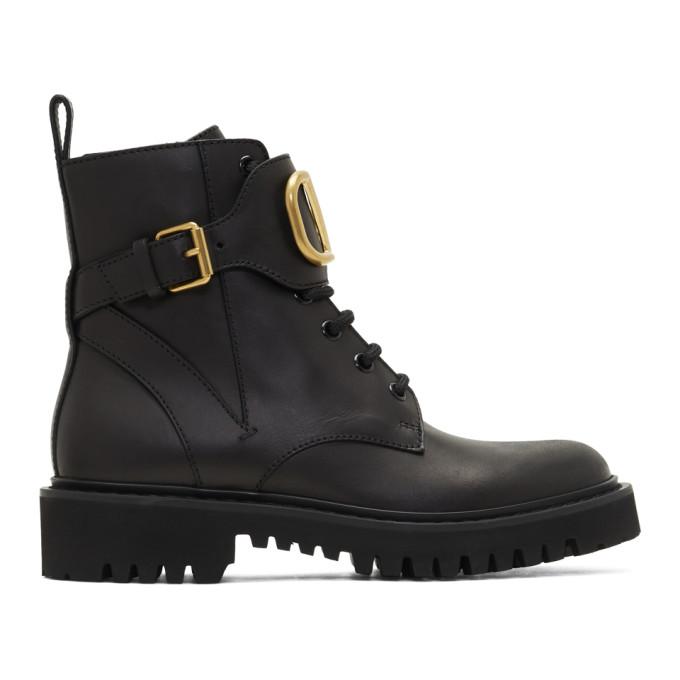 Valentino Garavani Ankle Boots Combat Boots  Calfskin Logo Metallic Black In 0no Black