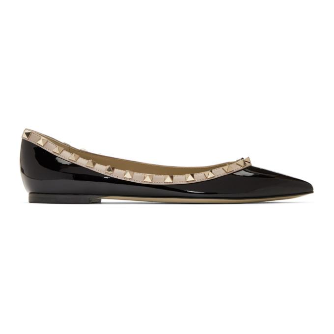 Buy Valentino Black Valentino Garavani Patent Rockstud Ballerina Flats online