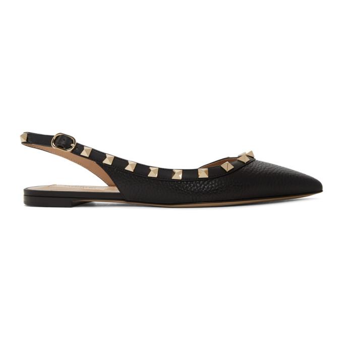 Buy Valentino Black Valentino Garavani Rockstud Slingback Ballerina Flats online