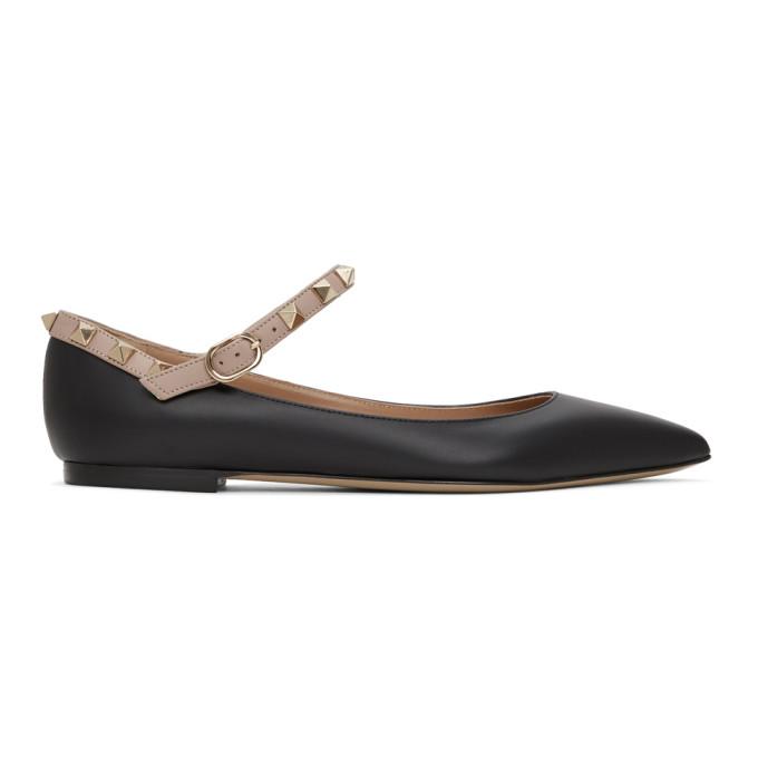 Buy Valentino Black Valentino Garavani Ankle Strap Rockstud Ballerina Flats online