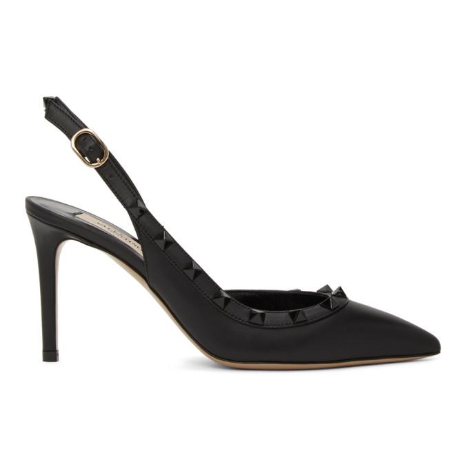 Buy Valentino Black Valentino Garavani Rockstud Slingback Heels online
