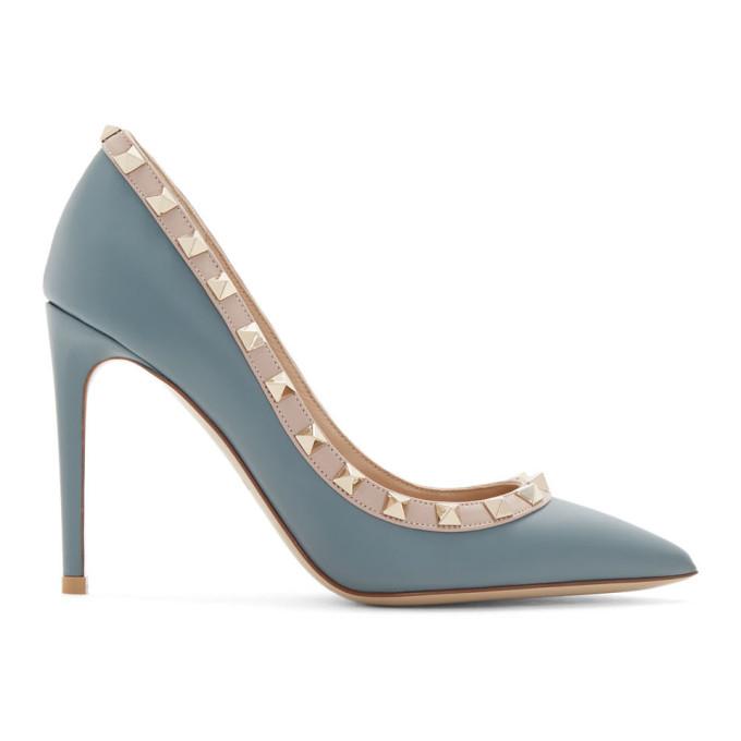 Buy Valentino Blue Valentino Garavani Rockstud 100 Heels online