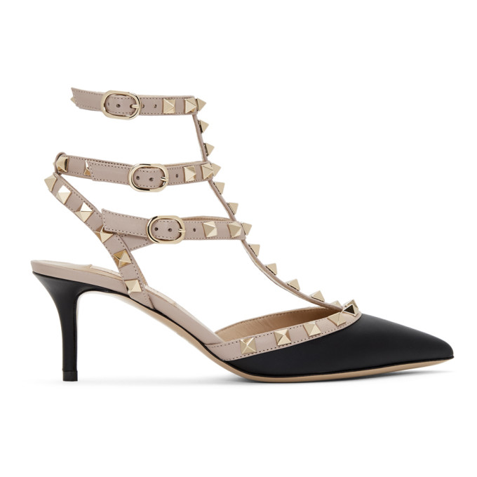 Buy Valentino Pink and Black Valentino Garavani Rockstud Cage Heels online