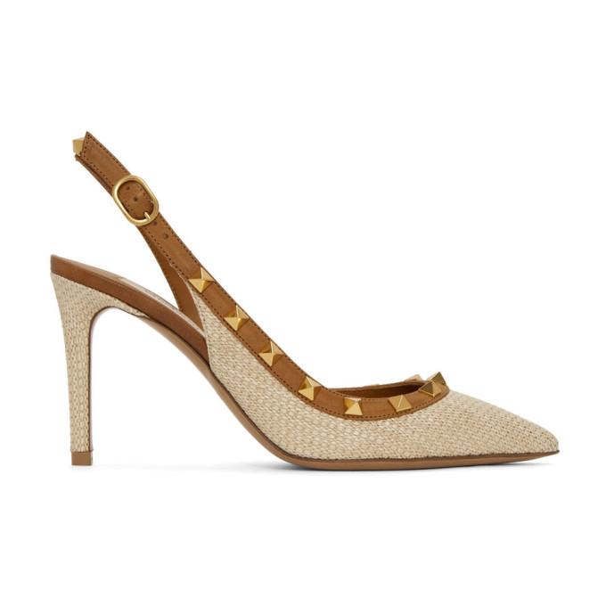 Buy Valentino Beige Valentino Garavani Raffia Rockstud Slingback Heels online