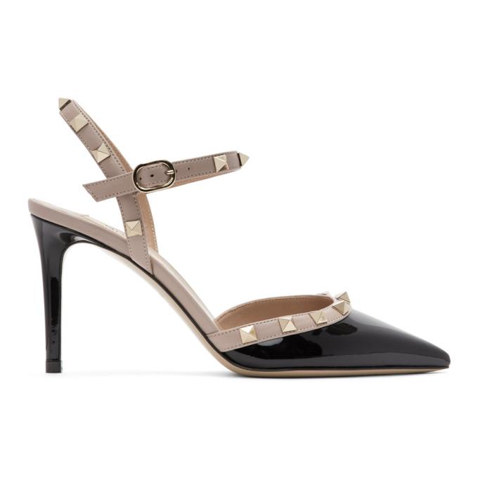 Buy Valentino Black Valentino Garavani Patent Rockstud Slingback Heels online