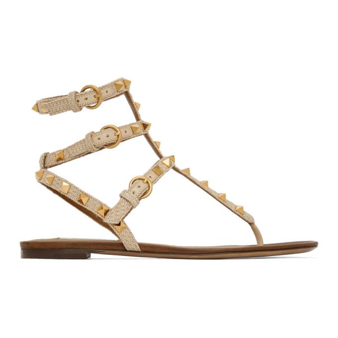 Buy Valentino Beige Valentino Garavani Rockstud Raffia Double Thong Sandals online