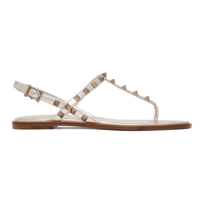 Buy Valentino Beige Valentino Garavani Rockstud Sandals online